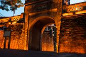 Closeup O Quan Chuong City Gate, The Only Gate Remaining Of Thang Long Citadel In Hanoi poster