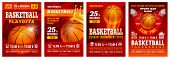 Set Of Basketball Posters With Basketball Ball. Basketball Playoff Advertising. Sport Event Announce poster