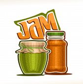Vector Illustration Of Fruit Jam, Poster With Rustic Pot Of Kiwi Jelly With Paper Cover And Rope Tie poster