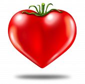 image of heart shape  - Healthy lifestyle symbol represented by a red tomato in the shape of a heart to show the health concept of eating well with fruits and vegetables - JPG
