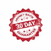 Money Back Guarantee Badge Red Grunge Sticker Or Stamp Template Isolated Vector Illustration poster