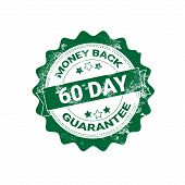 Money Back Guarantee Badge Green Grunge Sticker Or Stamp Template Isolated Vector Illustration poster
