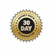 Golden Label Money Back In 30 Days With Guarantee Template Stamp Isolated Vector Illustration poster