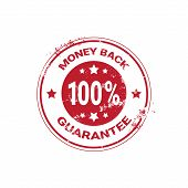 Money Back Guarantee Grunge Red Sticker Or Stamp Template Isolated Vector Illustration poster