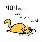 Upset Orange Cat Tik Lies In Tears. 404 Error. Oops Page Not Found. Vector Illustration. Cute Pet Ch poster