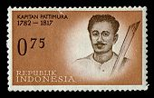 INDONESIA-CIRCA 1961:A stamp printed in INDONESIA shows image of Thomas Matulessy, also known as Kapitan Pattimura or simply Pattimura, was a Christian Ambonese soldier, circa 1961.