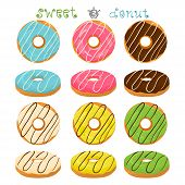 Abstract Vector Icon Illustration Logo For Glazed Sweet Donut. Donut Pattern Consisting Of Heap Of D poster