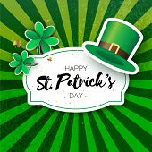 Happy St. Patricks Day Greetings Card With Clover And Hat. Origami Green Shamrock Irish Tradition Ce poster