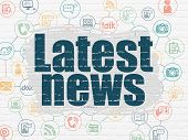 News Concept: Painted Blue Text Latest News On White Brick Wall Background With Scheme Of Hand Drawn poster
