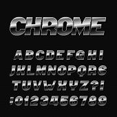 Chrome Effect Alphabet Font. Metal Numbers, Symbols And Letters On A Black Background. Stock Vector  poster