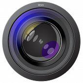 Foto de la lente del dispositivo aislado en blanco