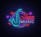 Jazz Music Is A Neon Sign. Symbol, Neon-style Logo, Bright Night Banner, Luminous Advertising On Jaz poster