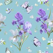 Floral Seamless Pattern With Purple Blooming Iris Flowers And Flying Butterflies. Watercolor Nature  poster