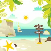 Tropic Palm Beach Banner, Card, Postcard Design With Rocks, Yacht And Wooden Sign, Summer Vacation C poster