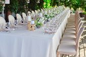 Outdoor Wedding Celebration At A Restaurant. Festive Table Setting, Catering. Wedding In Rustic Styl poster