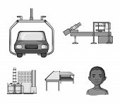 Automotive Industry And Other  Icon In Monochrome Style.new Technologies Icons In Set Collection. poster