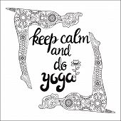Yoga And Meditation Concept Background With Text Keep Calm And Do Yoga. Illustration With Yoga Poses poster