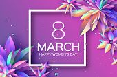 Bright Violet Holographic Flowers. Happy Womens Day. International 8 March. Mothers Day. Modern Pape poster