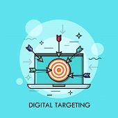 Laptop With Shooting Target With Arrows On Screen. Concept Of Digital Targeting, Online Marketing St poster