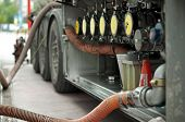 stock photo of tank truck  - Fuel truck which refill - JPG