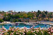 Old harbour in Antalya, Turkey - travel background poster