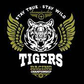 Tiger And Wings - Logo Graphic Design. Logo, Sticker, Label, Arm, Motor Sport On Black Background. poster