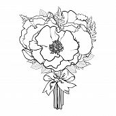 Big Bunch, Bouquet Of Poppy Flowers Tied With Ribbon, Black And White Sketch, Hand Drawn Vector Illu poster