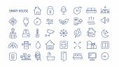 Collection Of Smart House Linear Icons - Control Of Lighting, Heating, Air Conditioning. Set Of Home poster