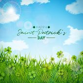 Saint Patricks Day Illustration With Green Clovers Field On Blue Sky Background. Irish Lucky Holiday poster