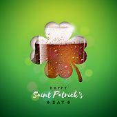 Saint Patricks Day Design With Fresh Dark Beer In Clover Silhouette On Green Background. Irish Festi poster