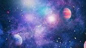 planets, stars and galaxies in outer space showing the beauty of space exploration. Elements furnish poster