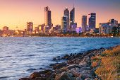 Perth. Cityscape Image Of Perth Skyline, Australia During Sunset. poster
