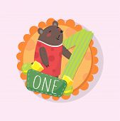 Colorful Round Emblem With Cute Bear And Number 1 One . Original Illustration For Kids Learning To C poster