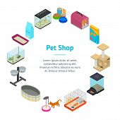 Accessories For Domestic Pets Banner Card Circle Care Animal Isometric View Equipment For Dog And Ca poster