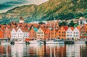 Bergen, Norway. View Of Historical Buildings Houses In Bryggen - Hanseatic Wharf In Bergen, Norway.  poster