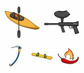 Paintball Marker, Kayak With A Paddle, Snowboard And Climbing Ice Ax.extreme Sport Set Collection Ic poster