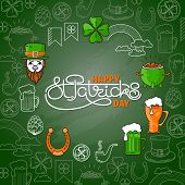 Vector Set Of St. Patricks Day Icon On Green Background. poster