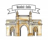 Mumbai City Gate Way Icon, India. Famous Indian Maharashtra Landmark. Travel India Background poster