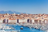 Panoramic View Of The Old Port And Marseille Coastline In Summer, France poster
