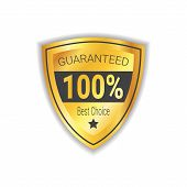 Best Choice Sticker Golden Shield Guaranteed Seal Isolated Vector Illustration poster