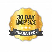 Money Back In 30 Days Guarantee Sticker Golden Medal Icon Seal Isolated Vector Illustration poster