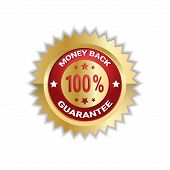 Money Back With 100 Percent Guarantee Sticker Golden Label Icon Seal Isolated Vector Illustration poster
