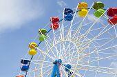 Ferris Wheel Detail On A Blue Sky