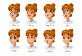 Woman Character Expressions Set. Calmness, Happy, Suspicion, Fear, Angry, Laughter, Sadness, Desire. poster