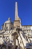 Bernini Fontana Quattro Dei Fiumi Fountain Of Four Rivers Saint Agnese In Agone Church Obelisk Piazz poster