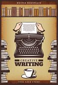 Vintage Colored Writer Poster With Hands Insert Paper In Typewriter Coffee Cup Books And Bookshelf V poster