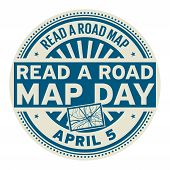 Read A Road Map Day, April 5, Rubber Stamp, Vector Illustration poster