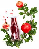 Branch Of Pomegranate Tree With Fruits And Glass Bottle With Pomegranate Juice Isolated On A White B poster