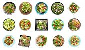Set of different tasty salads on white background poster
