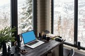 Audio / Video Editing Workspace Office With Mountain View. Photography And Videography Equipment. poster